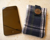 Blue Green Tartan Ipod Iphone Padded Case Recycled Upcycled with Vintage Button