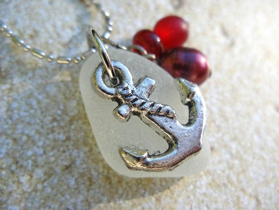 Anchor Nautical Necklace with Genuine White Scottish Sea Glass and Red Beads SHOP FAVORITE