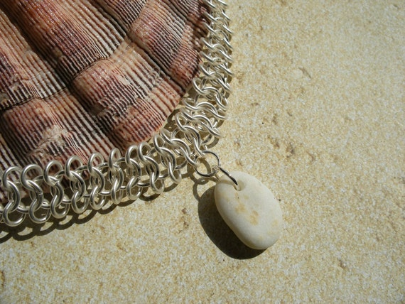 Beach Wedding Chainmail Necklace With Rare White Scottish Iona Marble Sea Pebble