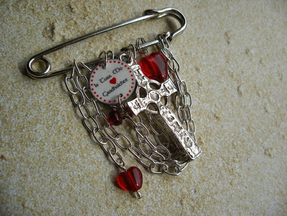 """Scottish Gaelic Kilt Pin Brooch with Large Pewter Celtic Cross """"Thou Art My Beloved"""""""
