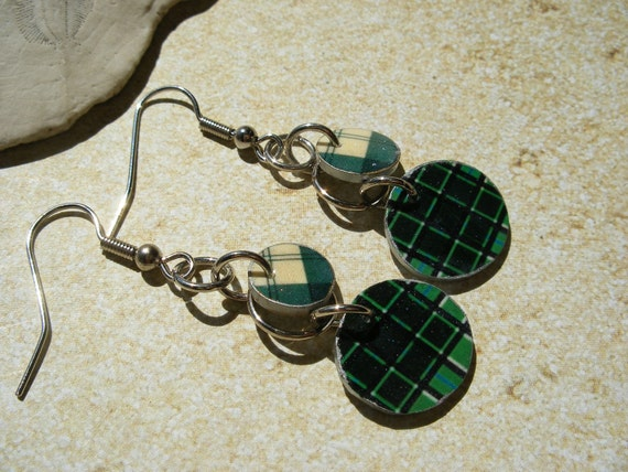 Green Scottish Plaid Tartan Earrings