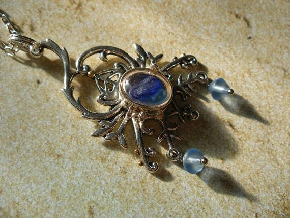 Scottish Blue Sea Glass Gothic Locket Necklace