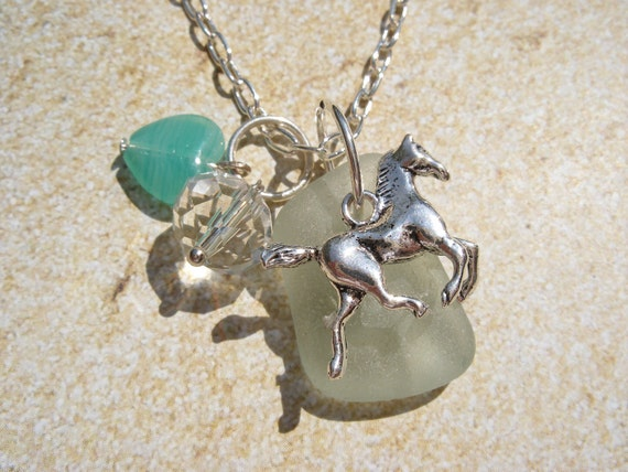 Horse Necklace with Scottish Sea Glass and Turquoise Blue Heart