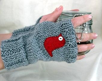 Little Bird Gray Fingerless Gloves, Gloves, Arm Warmers, Wrist Warmers, Hand Warmers, Fingerless Mittens, Texting Gloves, Hand Knit Gloves