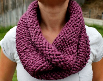 Fig Purple Cowl Scarf, Hand Knit Infinity Scarf, Hand Knit Cowl Scarf, Chunky Scarf, Chunky Knit, Snood, Winter Accessories