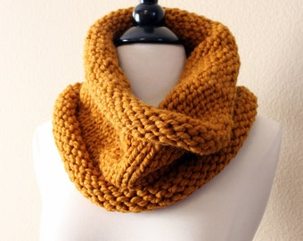 Butterscotch Cowl Scarf, Hand Knit Infinity Scarf, Hand Knit Cowl Scarf, Chunky Scarf, Chunky Knit, Snood, Winter Accessories