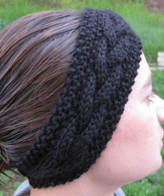 Black Ear Warmer, Braided Earwarmer, Cable Knitted, Winter Headband, Hand Knit, Head Wrap, Knit Headband, Hair Band, Winter Accessories