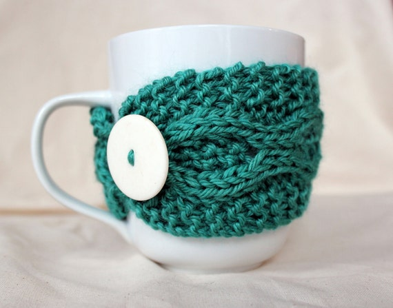 Knitted Mug Cozy in Surf Green - Ready to Ship