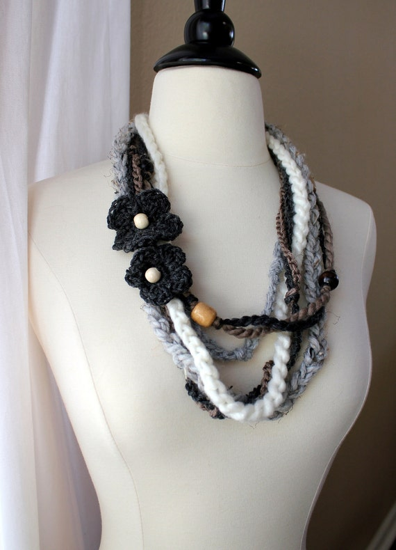 Boho Crochet Necklace in Taupe and Gray - Ready to Ship