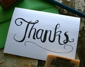 Thank You Card - Thanks Hand Drawn Notecard Set- Dark Chocolate
