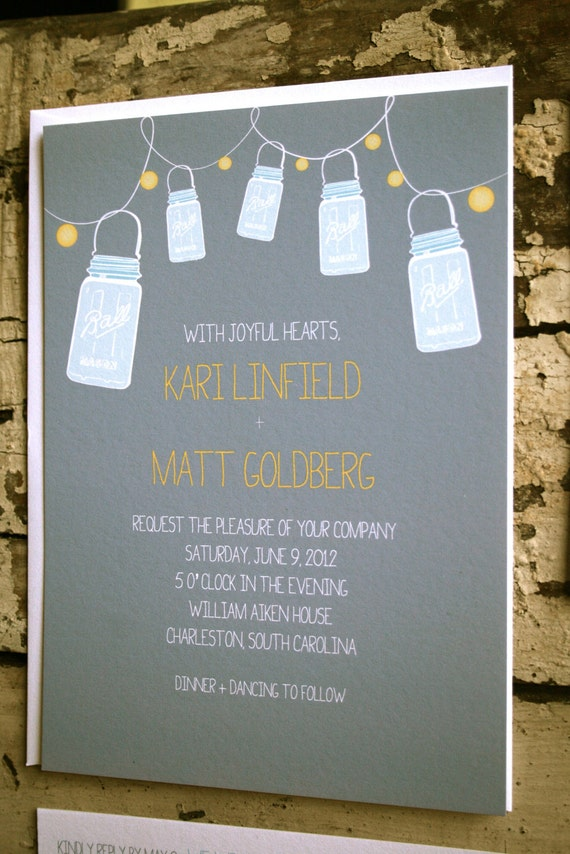 Items similar to vintage mason jar wedding invitation for Etsy engagement party invites