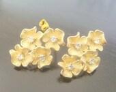Matte Gold Sterling Silver 4 flower Earring Findings, Connectors, Pendants, 2 pc