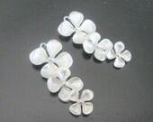 Earring findings Matte Silver Tarnish resistant triple clover flower pendant, connector, charm, B59714