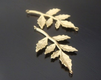 Matte gold 6 leaf tree branch connector, findings, settings