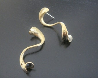 Wholesale Gold Spiral Ribbon Earwire Sterling Crystal Earring Post Findings, setting, connector, 2 pc, B16572