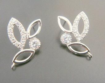 Silver Sterling Crystal Elegant Post Crystal earring post Findings, setting, 2 pc, J210435