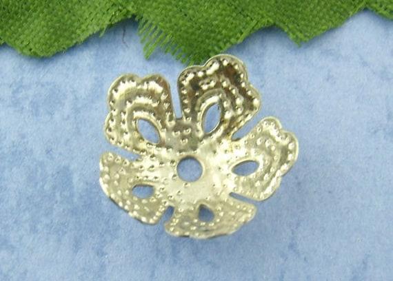50 Pcs Antique Silver Flower End Beads Caps 14mm
