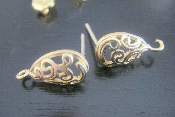 Wholesale Matte gold  Mini Drop Sterling Ear wire Earrings, Findings, Connectors, 2 pc L77215