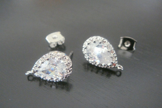 Silver Sterling Silver Post Drop Crystal earring post Findings, setting, 2 pc, JE51576