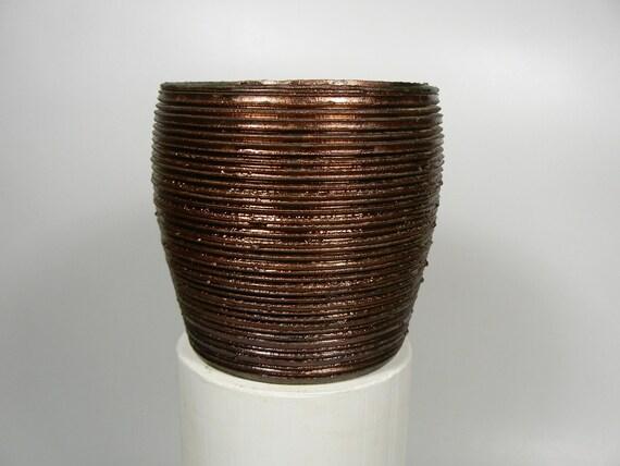 Deep Groove Copper Raku Cup Form