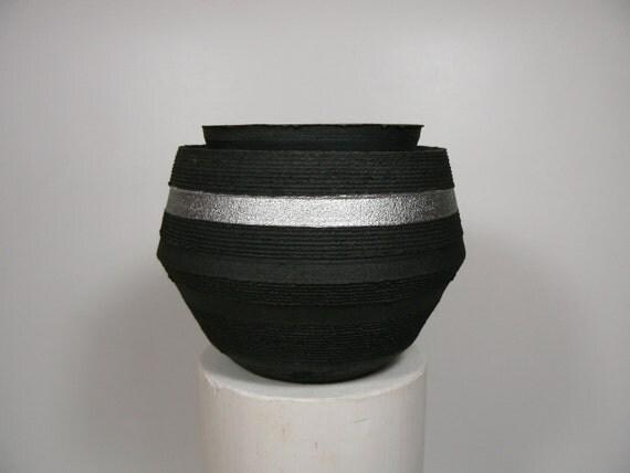 Carbon Black Raku Pot with Metallic Highlight Band