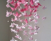 Monarch Butterfly Chandelier   Mobile -pink and white mix