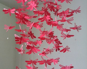 Chandelier Dragonfly  Mobile -two shades of pink, nursery mobile, baby girl mobile, photo prop, baby mobile
