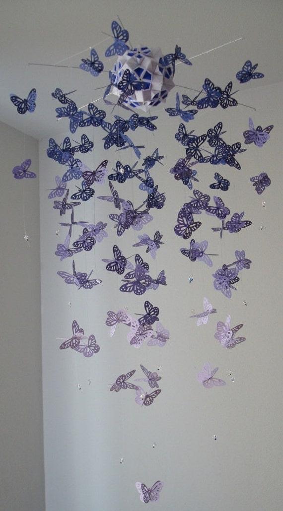 Chandelier Monarch Butterfly Mobile - purple, girl room mobile, nursery mobile, baby girl mobile, photo prop