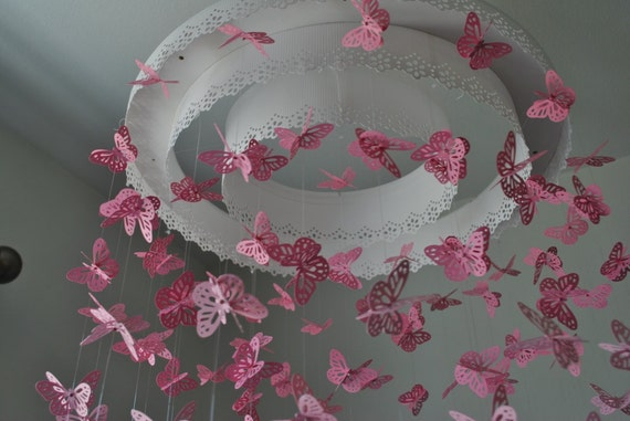 Carta pizzo Lampadario farfalla monarca Mobile di DragonOnTheFly -> Lampadario Farfalle Fai Da Te