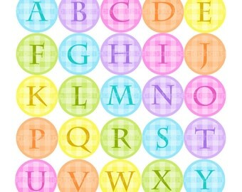 1x1 Inch Circles - Pastel Gingham Alphabet Digital Circles - Digital Scrapbooking - Instant Download - Commercial Use