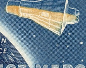 Enlarged Postage Stamp on Canvas of the Project Mercury Capsule - John Glenn - First US Man in Space - 1962