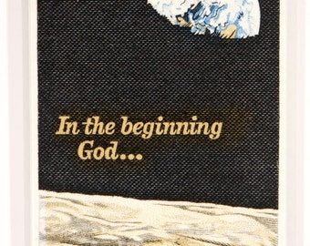 1969 Apollo 8 In the Beginning God...  US Postage Stamp Enlarged on Canvas