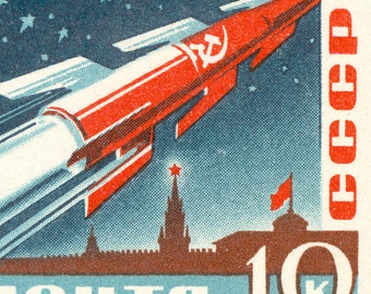 Yuri Gagarin and his Rocket - Vostok 1 - 8x11 Enlarged Russian Postage Stamp of the First Man in Space from 1961