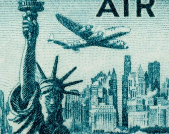New York Skyline on Airmail Postage Stamp from 1947 Enlarged on Canvas