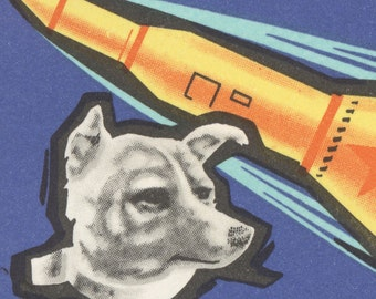Laika - First Dog in Space - 8.5x12 Mounted Canvas Print of Mongolian Postage Stamp