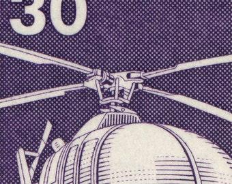 Rescue Helicopter - 10x8 Mounted Canvas Print - Deutsche Bundespost