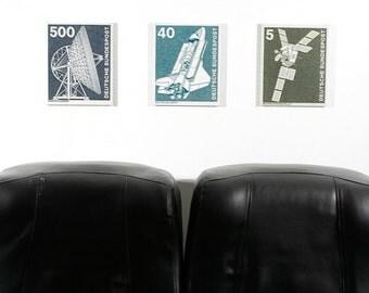 Space Exploration Series Triptych - Mounted Canvas Print Trio - Deutsche Bundespost
