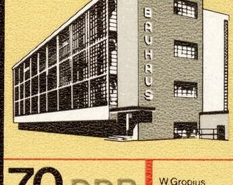 Bauhaus - Walter Gropius - 10x8 Mounted Canvas Print - DDR postage stamp -