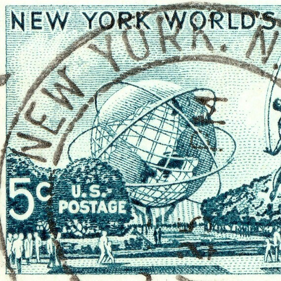 1964-1965 New York World's Fair Postage Stamp Enlarged on Canvas to 8x13 inches