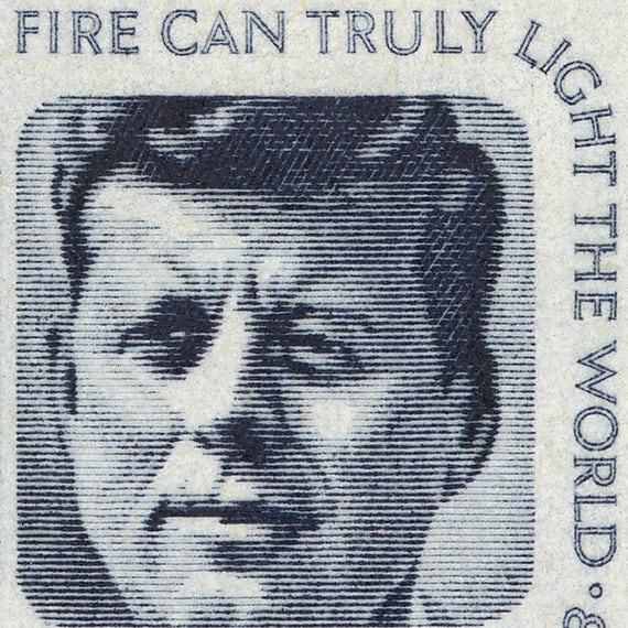 JFK 8x13 Mounted Canvas Print of John F Kennedy Eternal Flame Postage Stamp from 1963