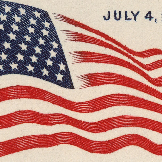 8x13in United States Flag - Old Glory - Airmail Postage Stamp from 1959 Enlarged on Canvas