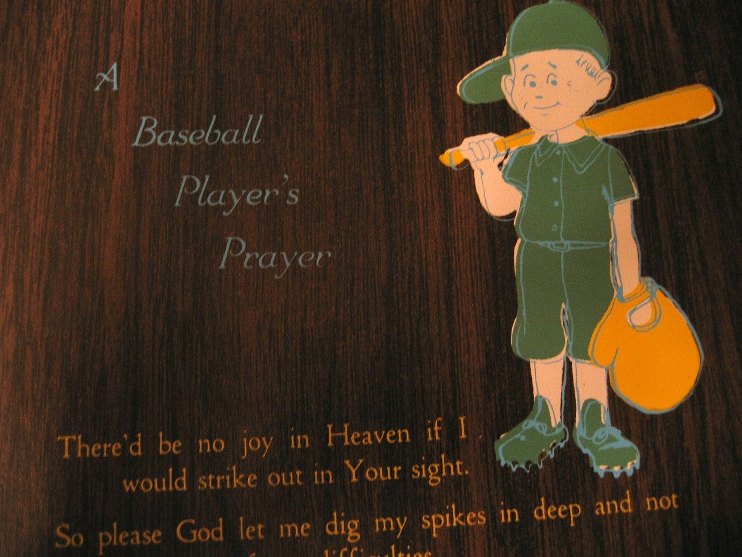 Vintage 1970s 1980s Baseball Players Prayer Wall Plaque Wall
