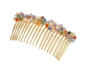 Flowers Hair Comb with Swarovski Crystal Flowers