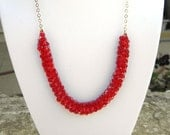 Red Necklace - Swarovski Crystals and 14K Gold filled - Queen of Red