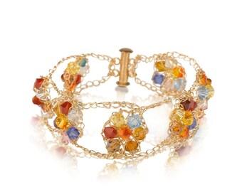 Crystal Flowers Bracelet - 14K Gold Filled with Swarovski  Crystals