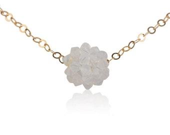 Milk White Necklace Swarovski Crystals and 14K Gold Filled
