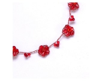 Red Flowers Necklace
