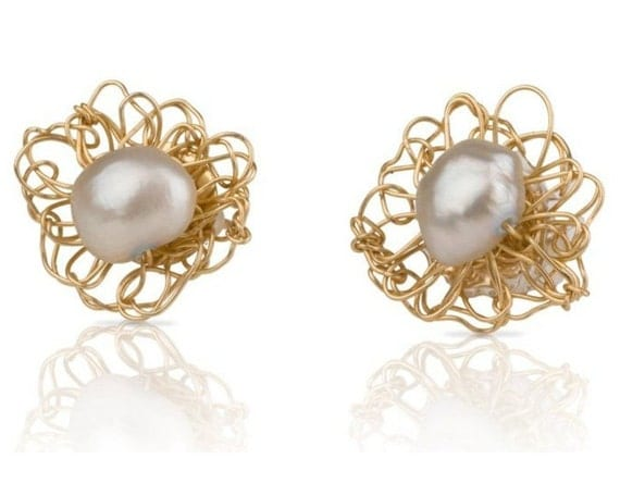 White Pearl  Stud Earrings - 14K Gold Fill Crochet Flowers with Pearl Centers