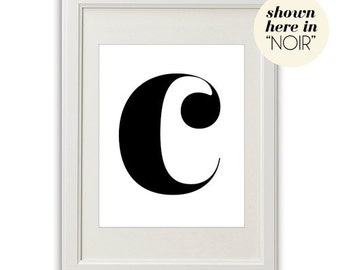 LETTER C (in NOIR - Black on White) BEAUTIFUL 8x10 on A4 Poster Print