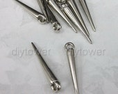 50pcs Silver Tone 20mm Plastic Spike Jewelry Earring Hoop Set